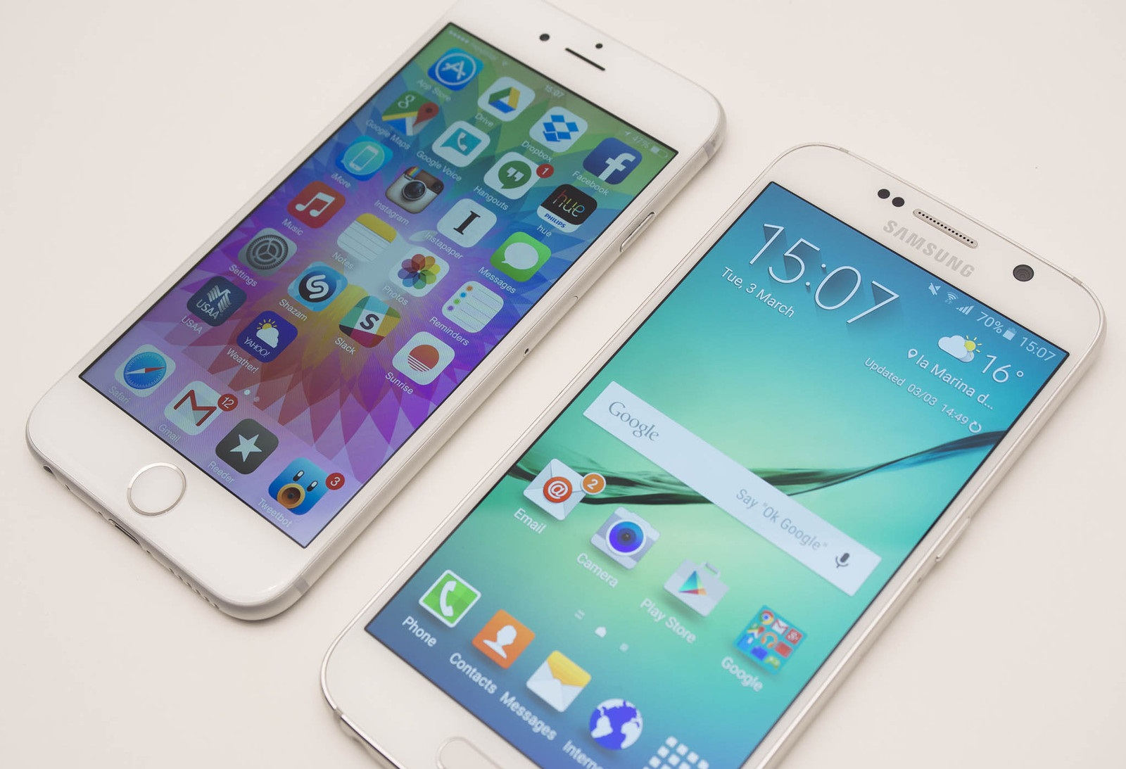 Samsung Galaxy S6 vs iPhone 6 Comparison Side Table