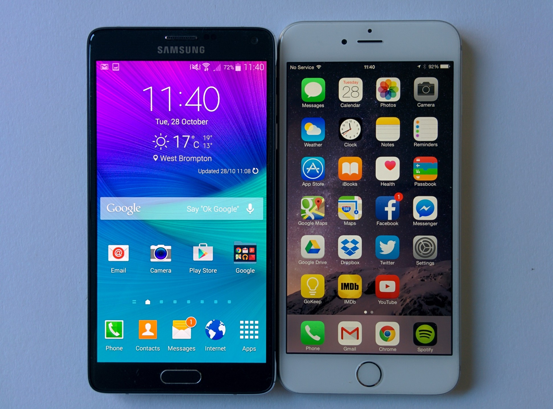 iPhone 6 Plus vs Samsung Galaxy Note 4 Display
